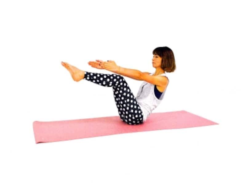 邪魔な腹肉を撃退!エクササイズ2undefined両足を床から離し、膝を90度曲げ体幹を使いポーズをキープ