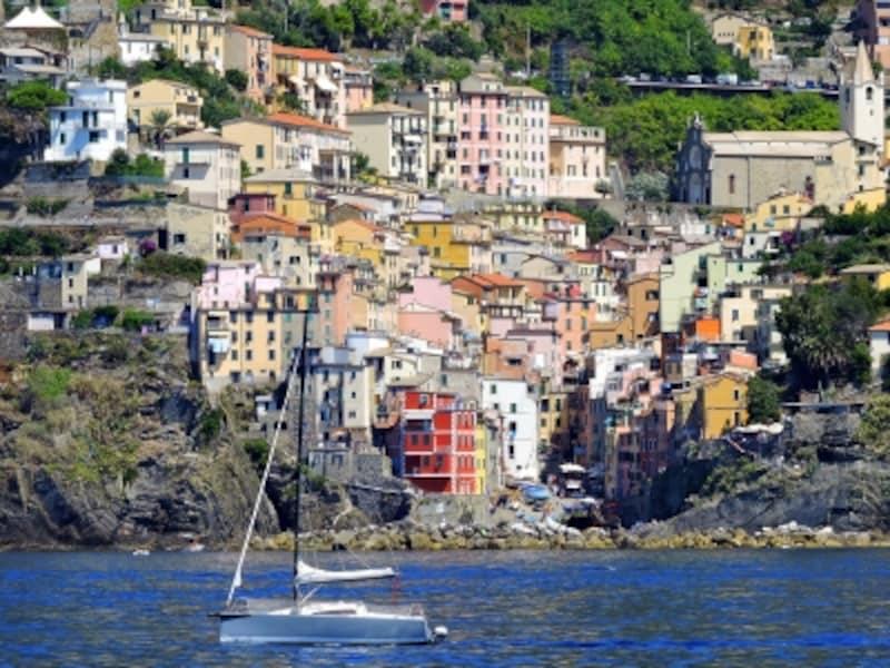 船から見上げたリオマッジョーレ