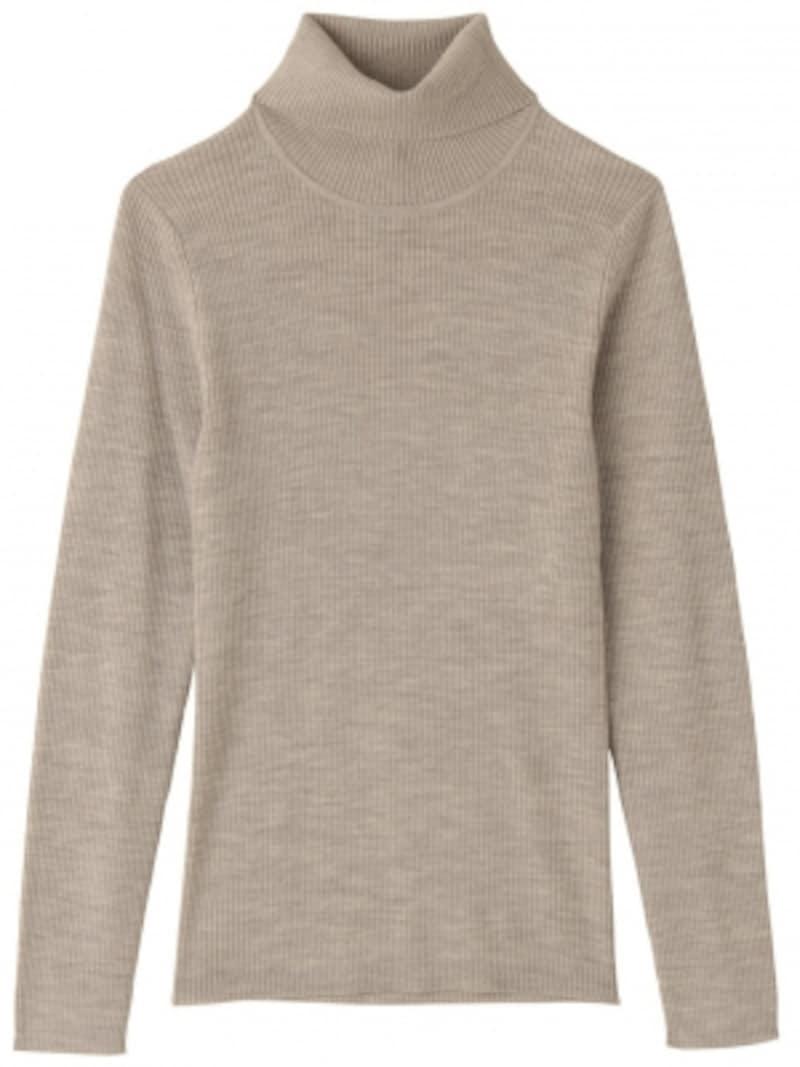 無印,首のチクチクをおさえた洗えるタートルネックセーター
