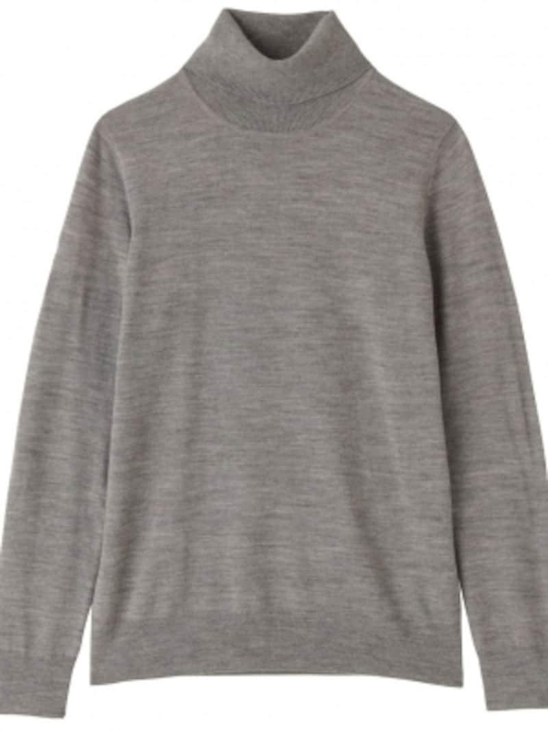 無印,首のチクチクをおさえた・天竺洗えるタートルネックセーター