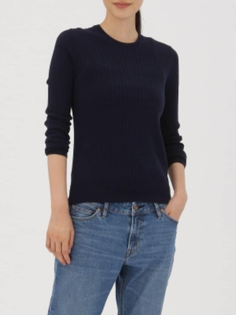 無印,ウールシルク洗えるワイドリブクルーネックセーター