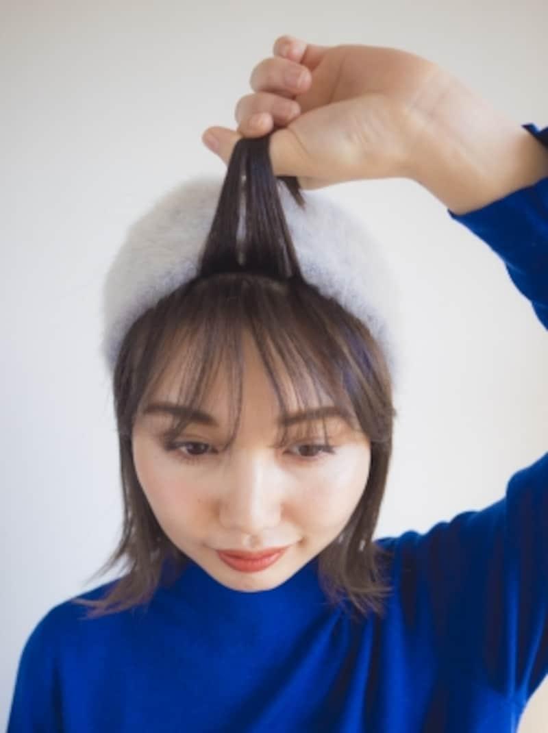 前髪の分量を調節