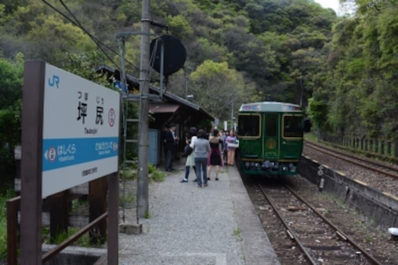 観光客で賑わう坪尻駅