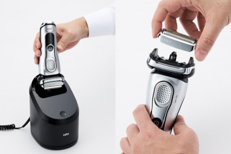 充電中に洗浄も出来る(左)替刃はカートリッジ式でまるごと交換できるのも衛生的(右)