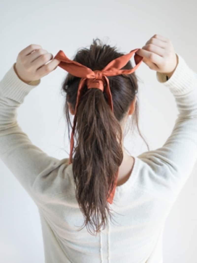 リボンの大きさと垂らす紐のバランスが大事