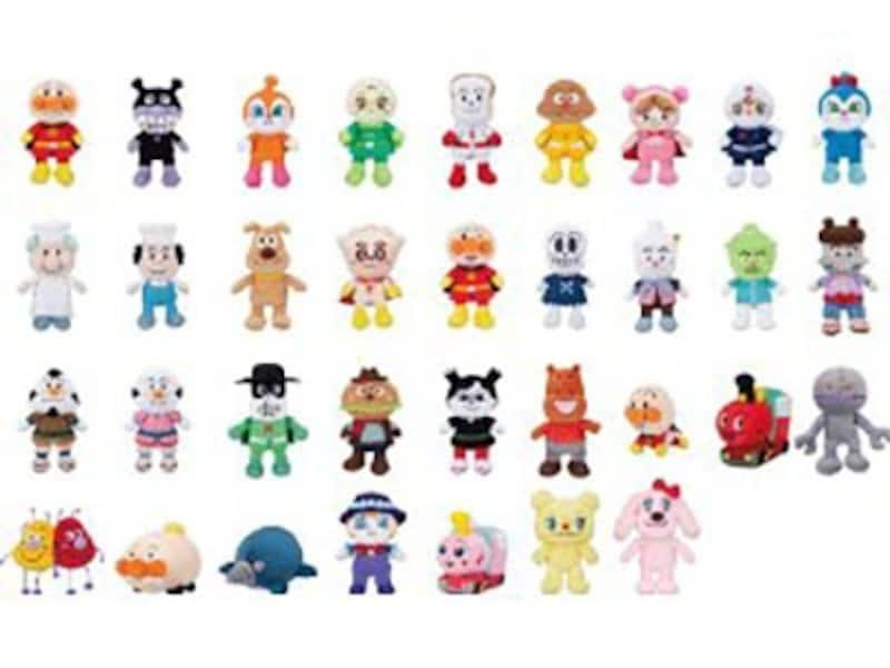 シリーズは全34種。アンパンマンをはじめ、おなじみのキャラクターが揃っています