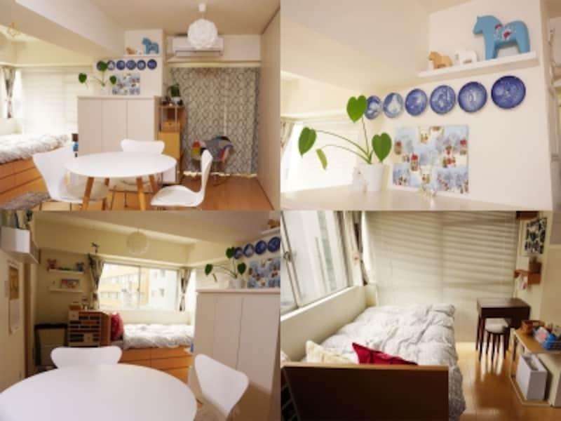 一人暮らしの部屋実例。白や木製品を基調としつつも、カラフルな雑貨や家具を取り入れた北欧風のインテリア