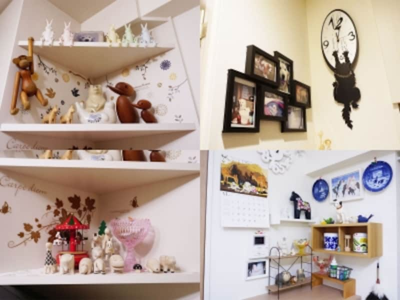 一人暮らしの部屋、ディスプレイの実例。(左上・左下)飾り棚には動物たちがたくさん並んでいて、愉快な雰囲気。(右上)これまで飼っていた愛犬の写真も並ぶ。(右下)この中には愛犬ジャスミンによく似たオブジェも