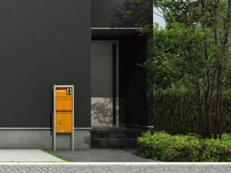 豊富なカラーバリエーションが揃う宅配ボックス。ビビットなカラーは外観のポイントにも。ポストと組み合わせることも可能。[シンプレオundefinedポスティモ宅配ボックス1型]undefinedYKKAPhttp://www.ykkap.co.jp/