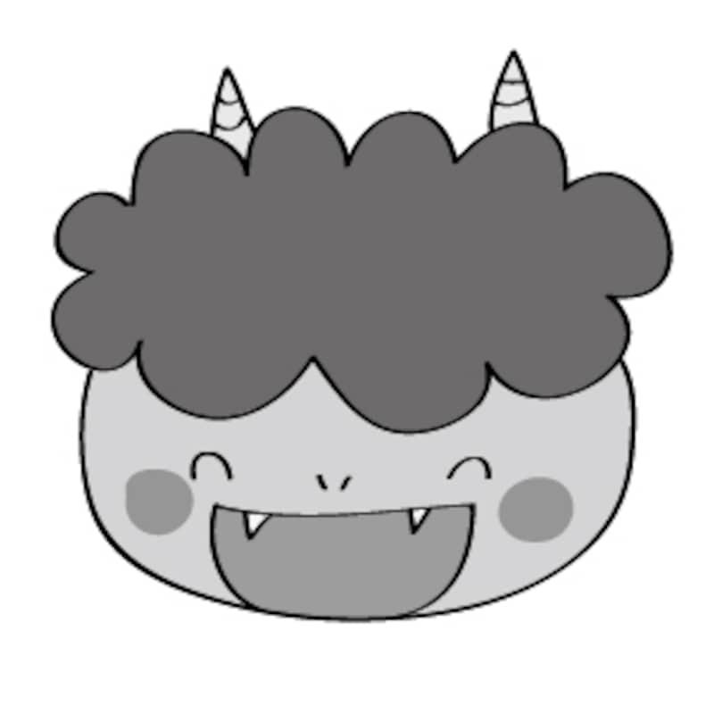笑っている鬼 イラスト 白黒 かわいい