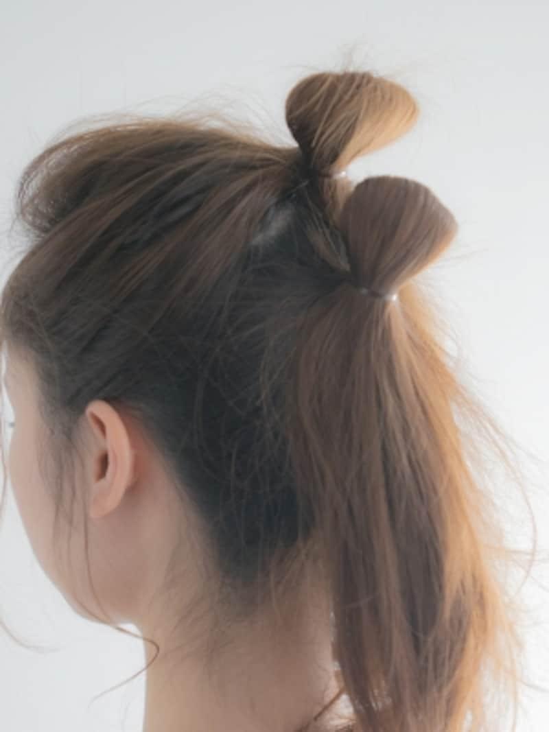 巻きつける毛束の量が多い方がお団子のボリュームが増す