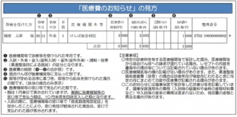 全国健康保険協会東京支部(協会けんぽ東京)の「医療費のお知らせ」の見方。受けた医療についての情報が記載されている(協会けんぽ東京支部のHPより)