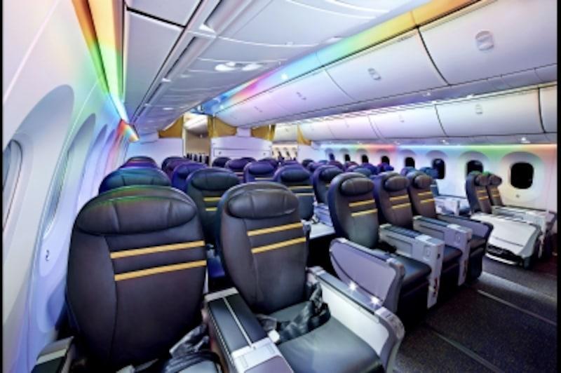 「スクートビズ」は大手航空会社のビジネスクラス並みのシートで快適。優先搭乗などの特典も多くあります(画像提供:スクート)