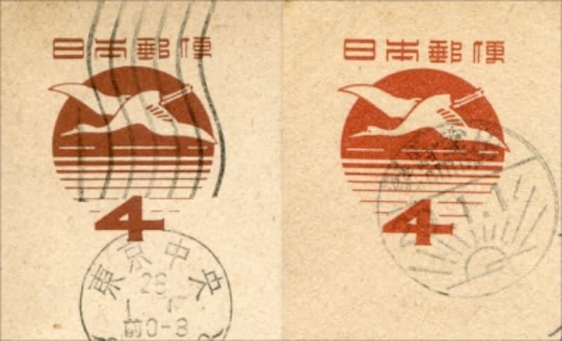 昭和28年(左)・昭和29年(右)用の年賀はがきの印面