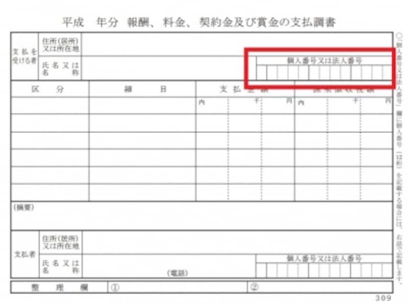 税務署に出す支払調書にだけマイナンバーが記載される