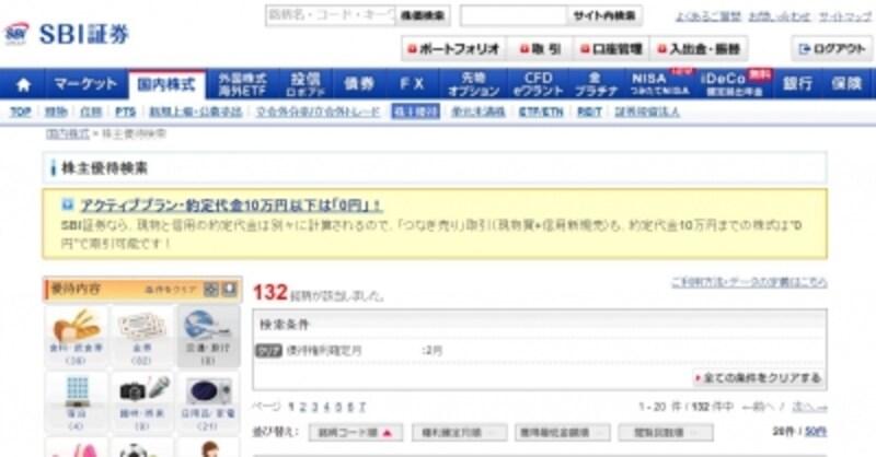 SBI証券株主優待検索