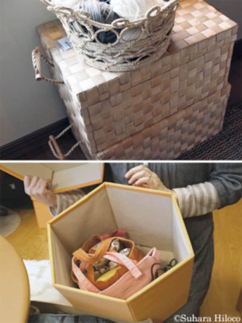 部屋が片付かない原因別・おすすめ収納:カゴや箱の大きさは入れたいモノに合わせたサイズで選びたい。子どもが使うモノは抱えて持てるくらいの大きさにしたり、リビングダイニングでは積み重ねておけるフタのあるモノにしたりするといい。IKEA、無印良品、ニトリには室内で使えるデザインのグッズがたくさんある