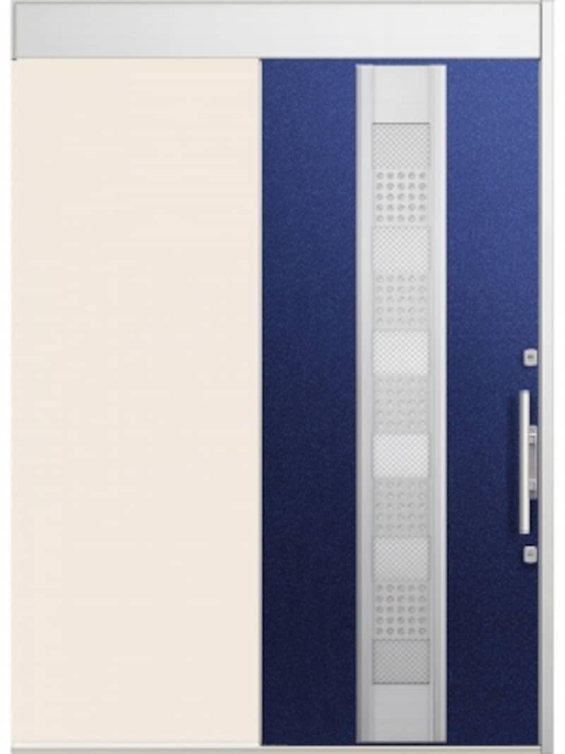 幅の狭いエントランスやモダンなデザインの住宅にも馴染む。袖部のガラスから光が差し込み玄関が明るくなる方袖タイプも。[FG-Eエルムーブundefined22型一本引きW166undefinedパールブルー防火戸]undefinedLIXILundefinedhttp://www.lixil.co.jp/