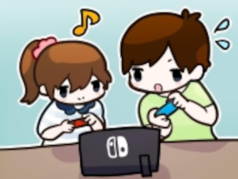 ニンテンドースイッチを遊ぶユーザーの図