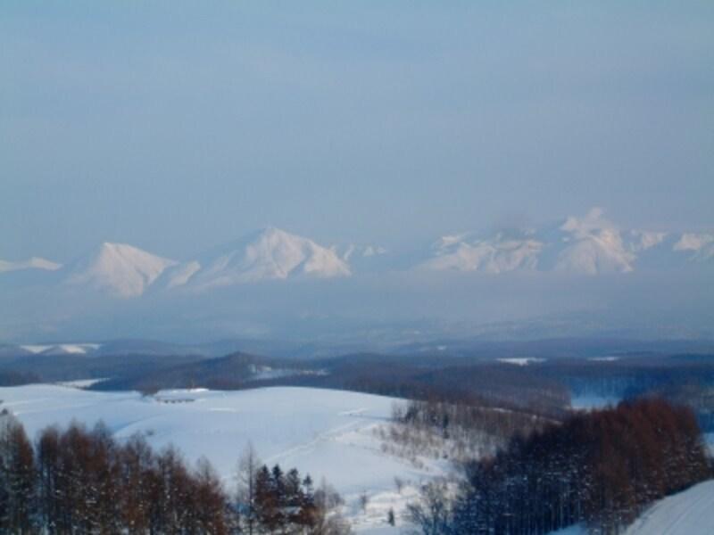 雪に覆われた丘と十勝岳連峰/四季彩の丘より