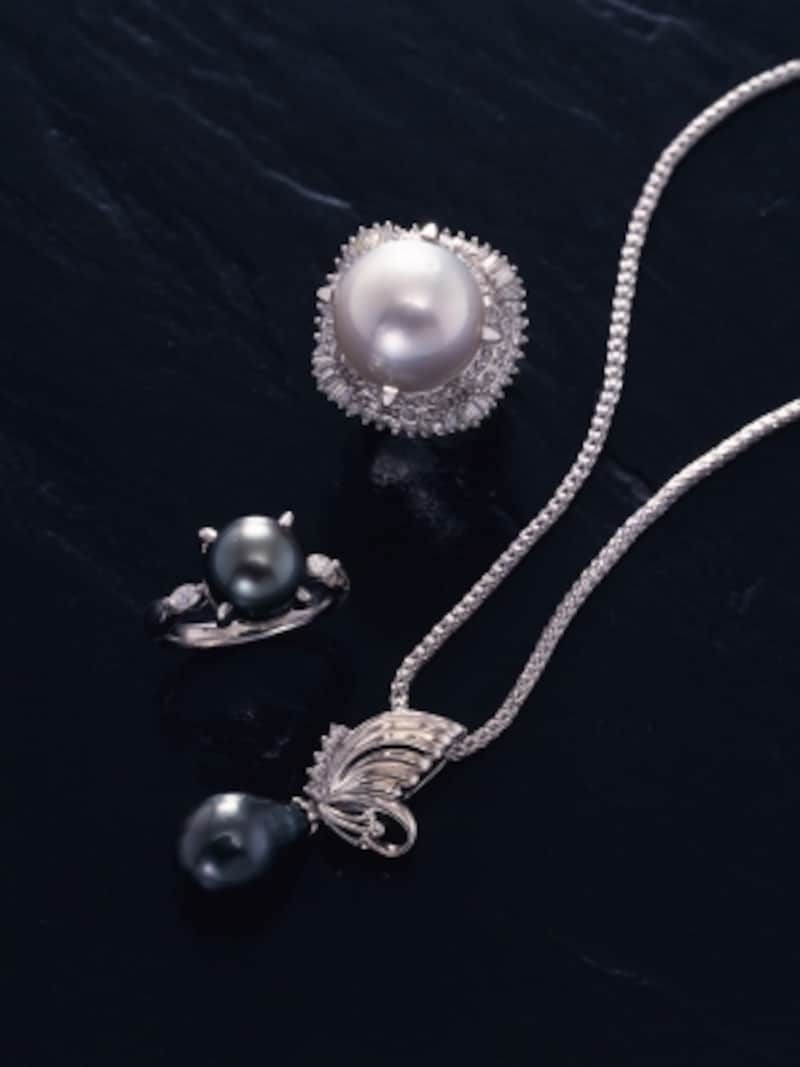 ブラックパールのペンダント,シルバーパールのリング,真珠,ウィンタータイプ