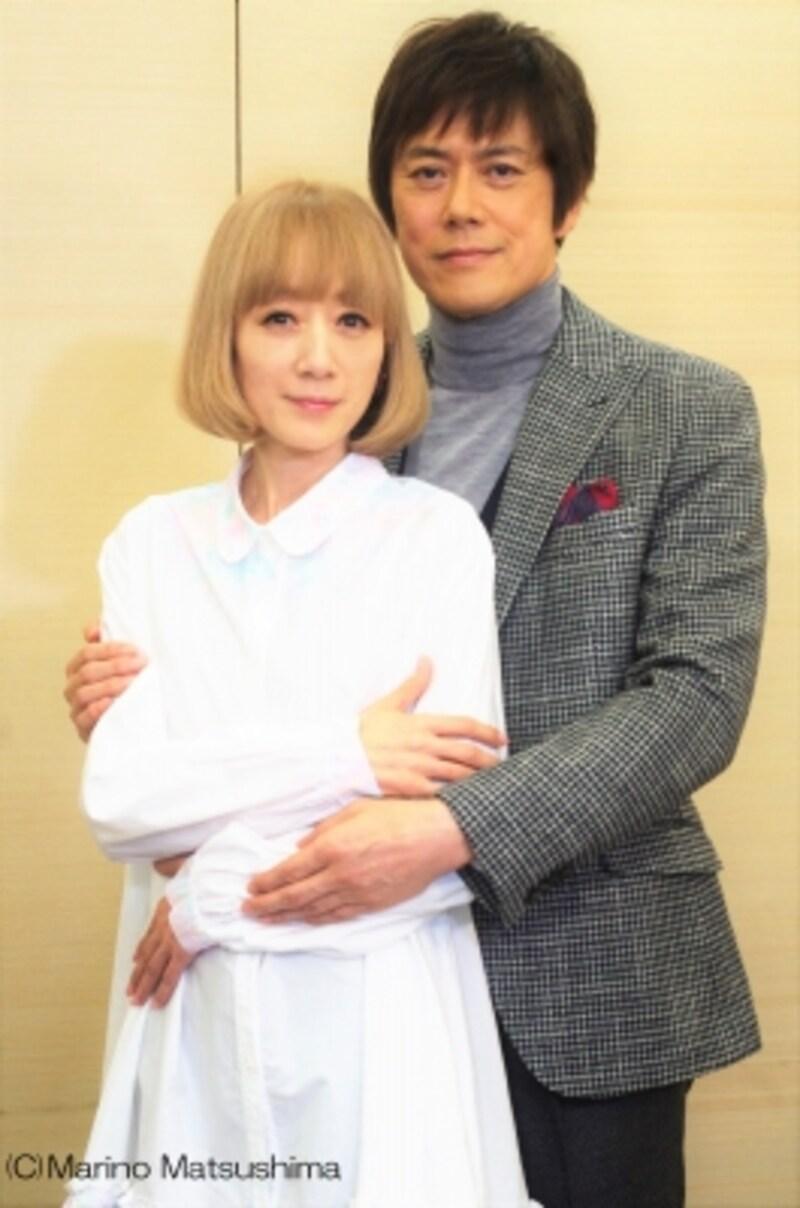 合同取材会にて、山口祐一郎さん、涼風真世さん。(C)MarinoMatsushima