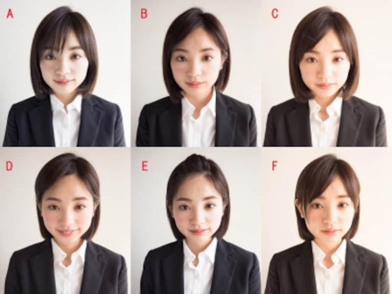 AからFまで前髪のバリエーションを比較。これだけでもかなり印象が変わります