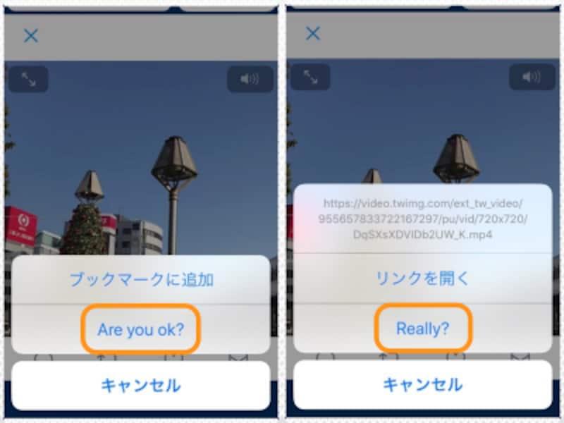 (左)[Areyouok?]をタップ。(右)[Really?]をタップ