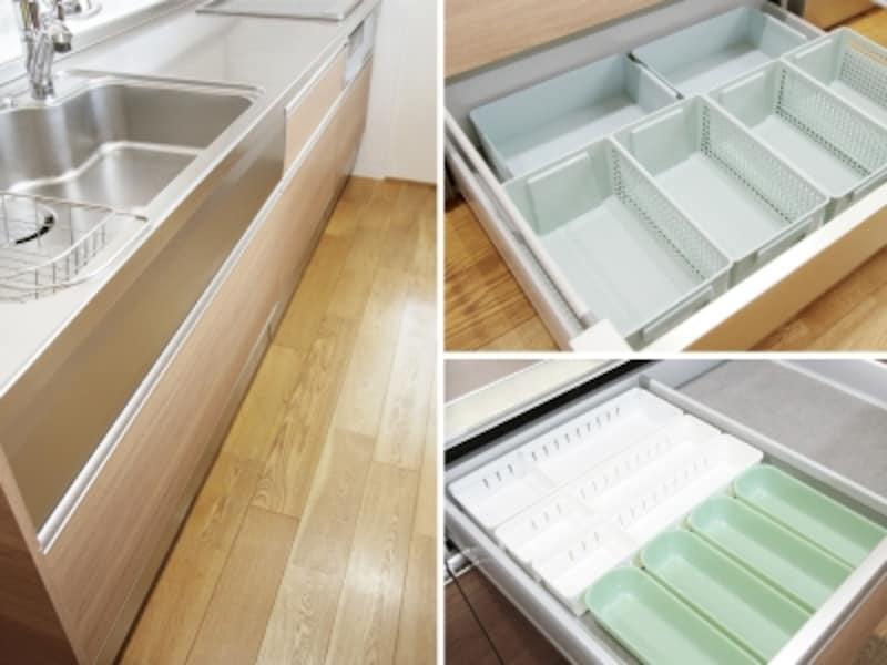 100均収納でシステムキッチンを整理