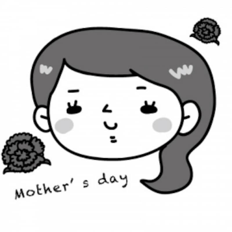 母の日に使えるカーネーションのイラスト【白黒】