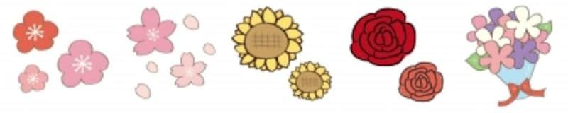 花の可愛いイラストカット集【白黒・カラー】