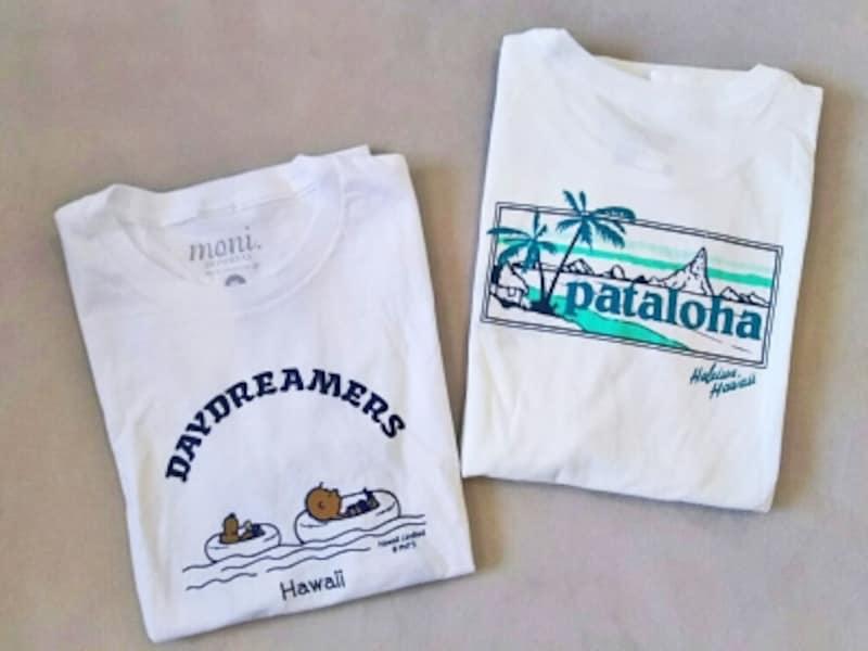 左/「モニ」の日焼けスヌーピーTシャツ、右/「パタゴニア」のパタロハTシャツ
