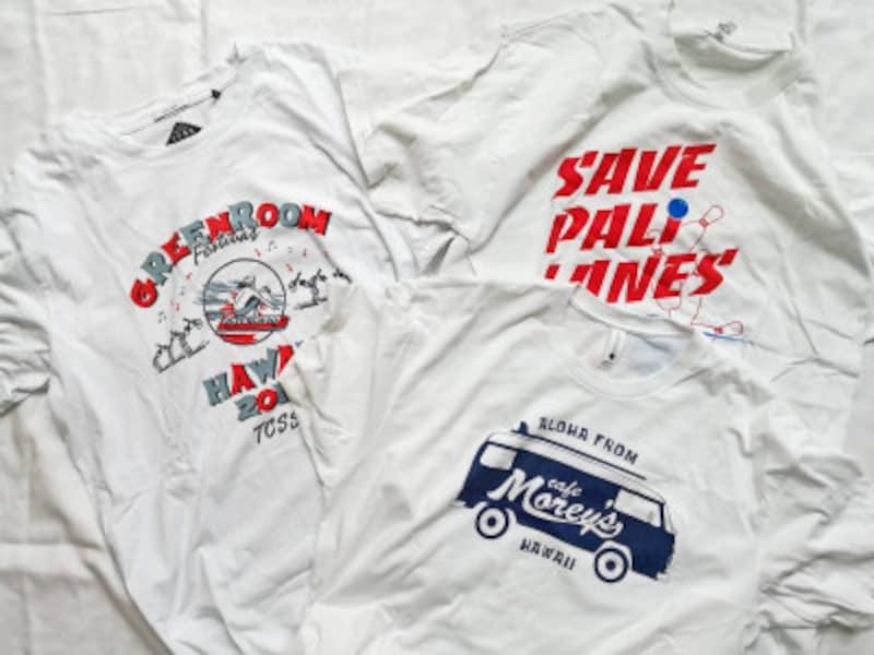 アートショップ、ボーリング場、カフェで購入したTシャツたち。Tシャツはハワイ土産のスタンダード