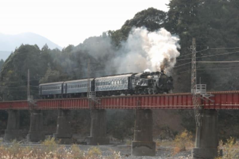 大井川を渡るSL列車