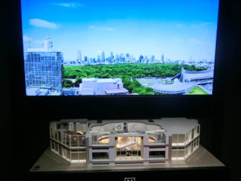 「パークコート渋谷ザタワー」のパークビューラウンジなどの完成予想模型とプレゼンテーション