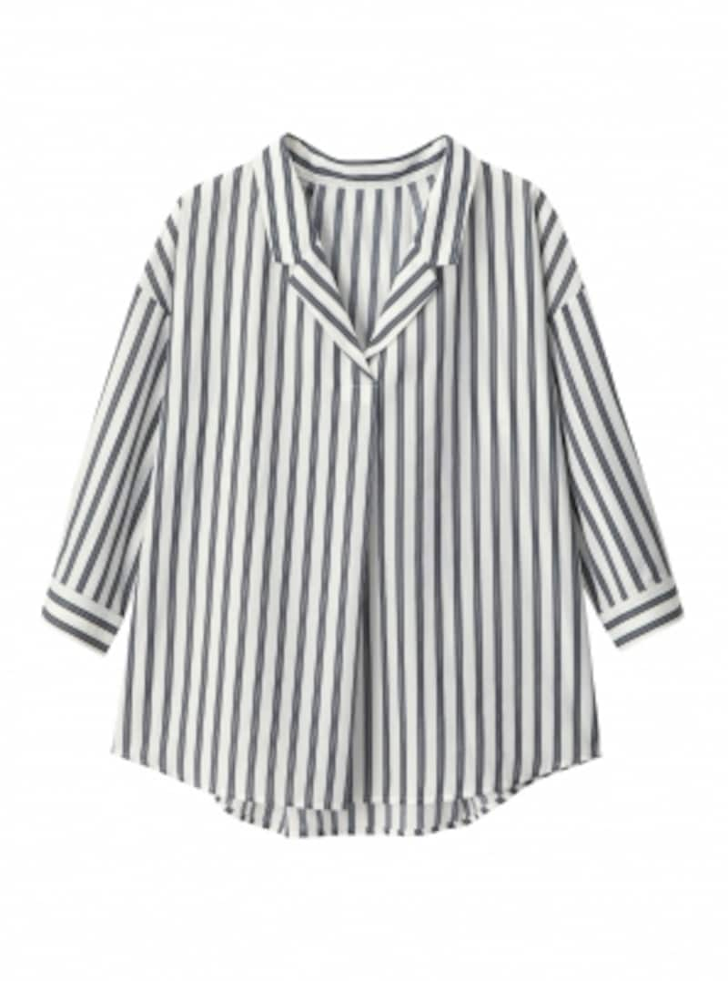 GUストライプオープンカラーシャツ7分袖1990円(税抜)