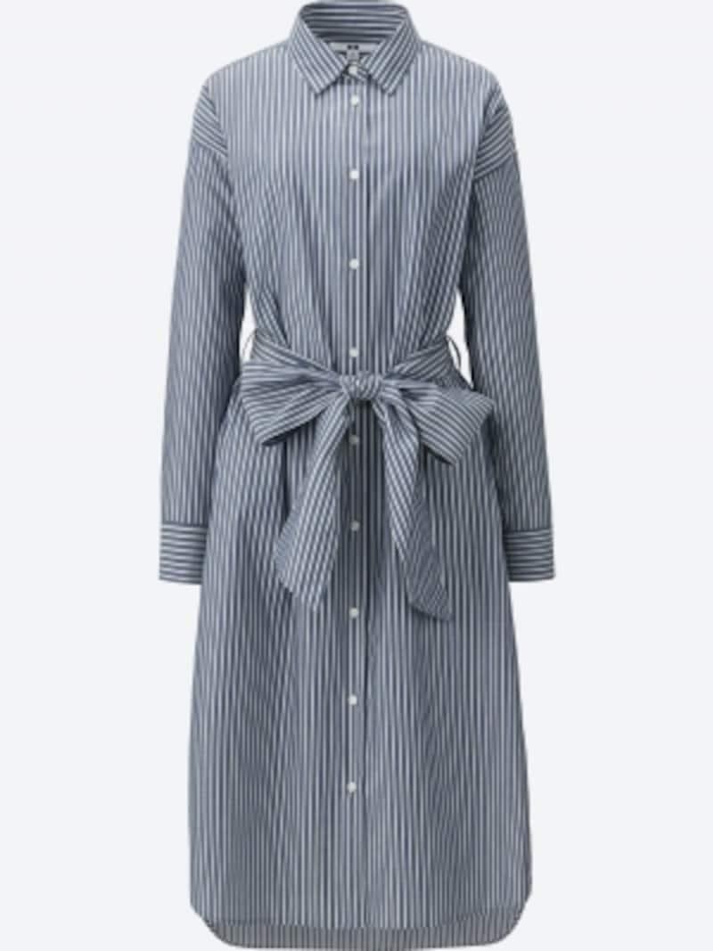ユニクロ,コットンストライプシャツワンピース3990円(税抜)