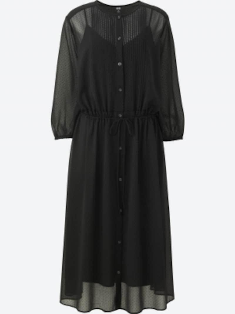 uniqlo,シフォンギャザーワンピース3990円(税抜)