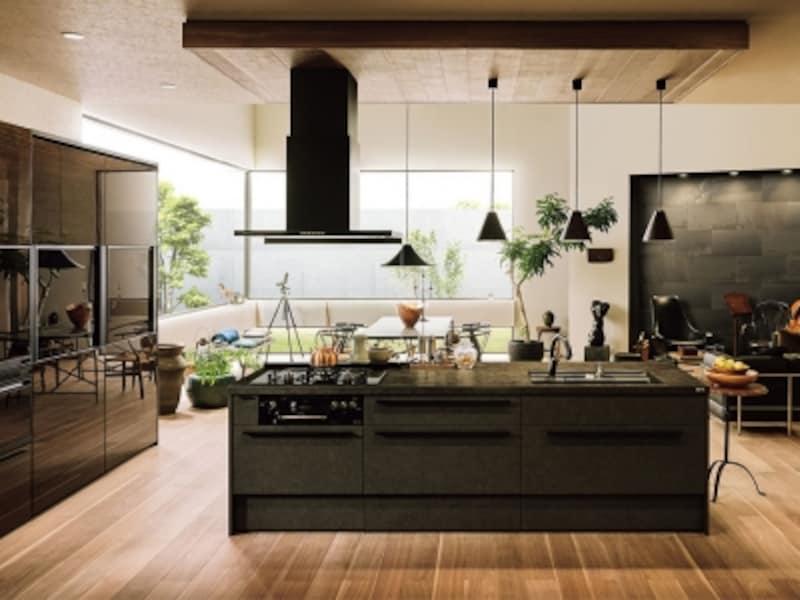 セラミックトップならではの風合いや深みのある色彩を同調させたコーディネートのキッチン。インテリアとしての美しさと使いやすい機能を持つ。[リシェルSI]undefinedLIXILundefinedhttp://www.lixil.co.jp/