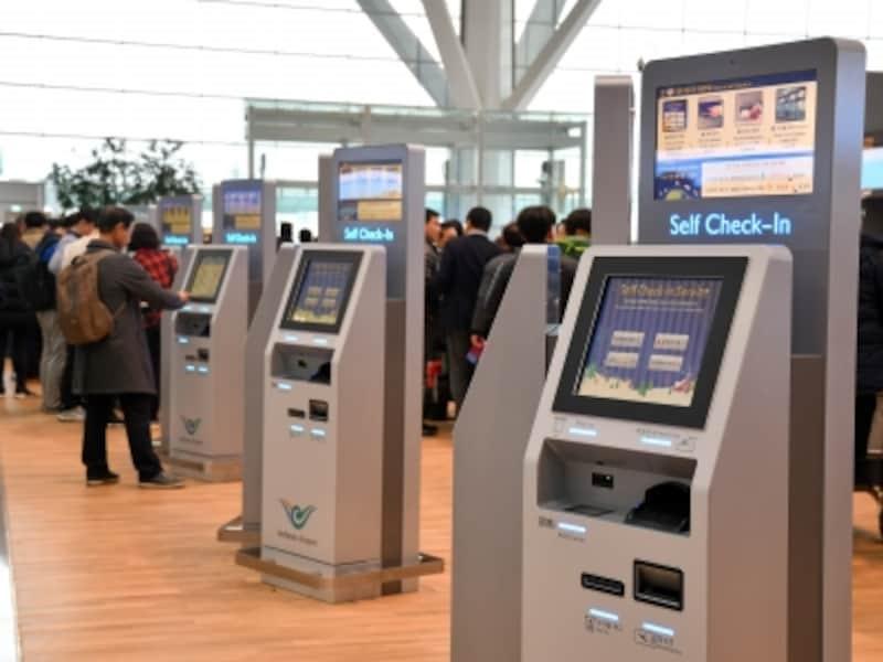 空港,自動チェックイン機