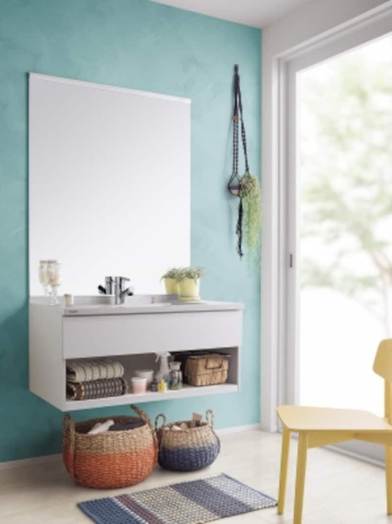 シンプルで軽やかな洗面化粧台。壁や床、小物の選び方で北欧の雰囲気に。[洗面ドレッシングundefinedCLINEundefinedシーライン]undefinedパナソニックエコソリューションズundefinedhttp://sumai.panasonic.jp/