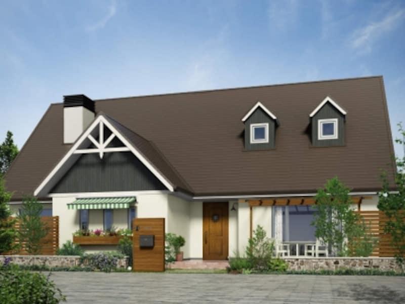 北欧テイストの外観デザインに馴染む、ロートアイアン調の鋳物格子をあしらったダークな木調色の玄関ドア。[高断熱玄関ドアイノベストD50片開き504KX:ラスティックウッド]undefinedYKKAPhttp://www.ykkap.co.jp/
