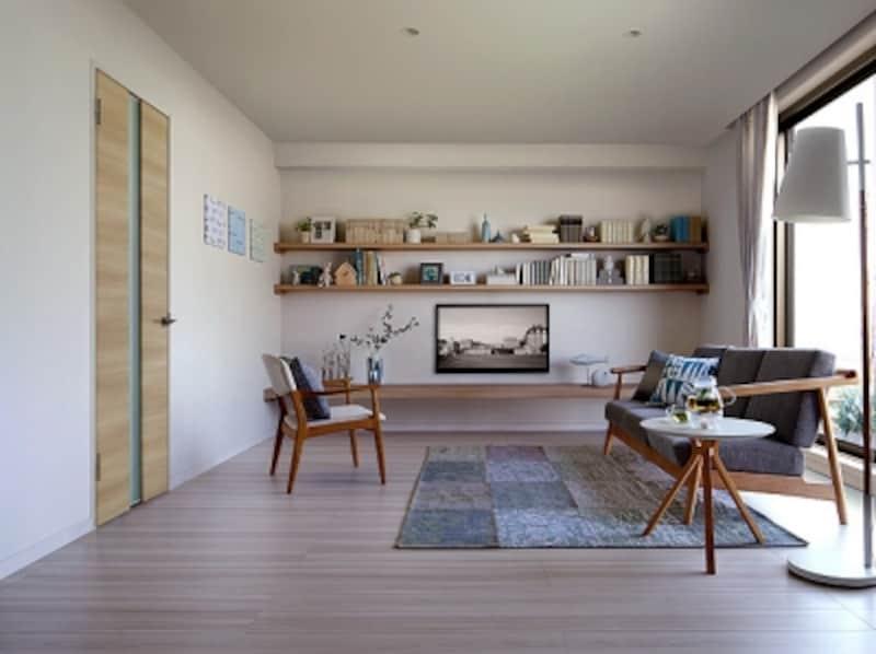 シンプルで透明感のあるモダンな北欧テイストのナチュラルなインテリア。イタリアンウォルナットの床とライトオークの室内扉を組み合わせて。[ラシッサDラテオ/施工例]undefinedLIXILundefinedhttp://www.lixil.co.jp/
