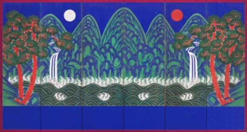 勤政殿の王座の後ろにある屏風絵「日月五岳図」
