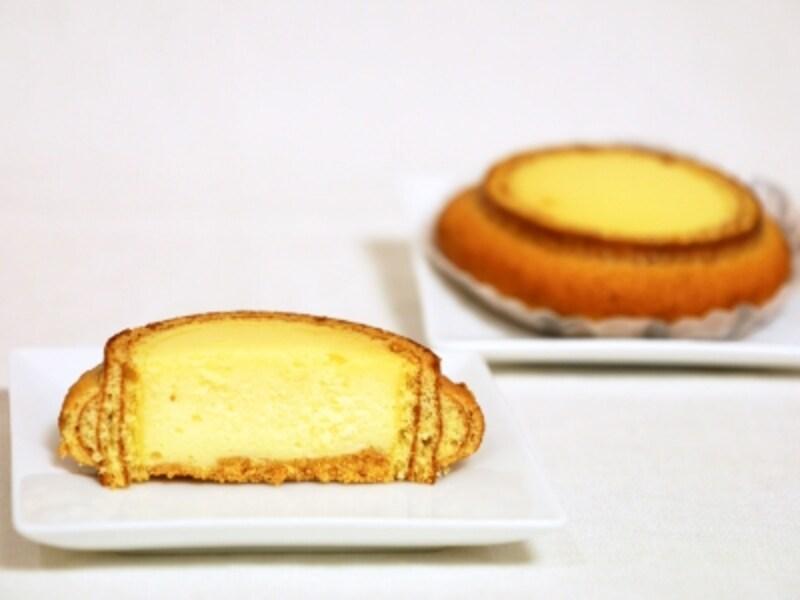焼き立ての「チーズインバウム」は、二度焼きしたバウムクーヘンのサクサクとした軽い食感と、チーズケーキのふんわりした食感が楽しめます(2018年3月21日撮影)