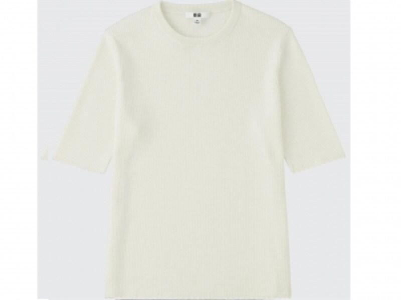 UVカットリブクルーネックセーター(5分袖)1990円(税抜)