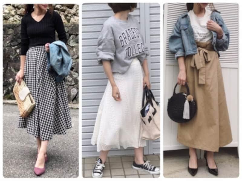 長め丈スカートがオシャレに見えるか老けて見えるかはコーデ次第!