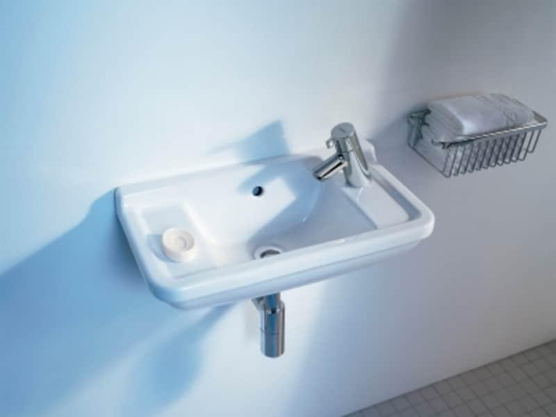 シンプルなデザインの壁付タイプ。石鹸を置くスペースを確保した使い勝手の手洗器。[DV075150]undefinedセラトレーディングhttps://www.cera.co.jp/
