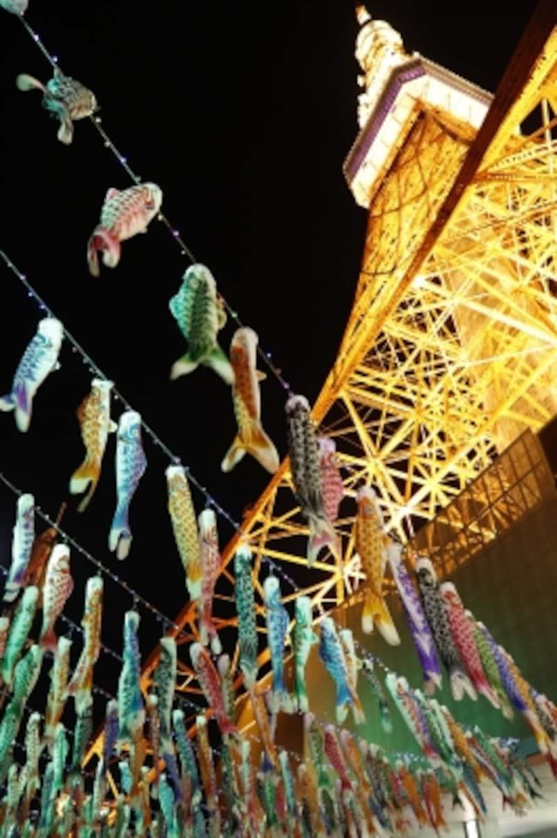 鯉のぼりのライトアップ