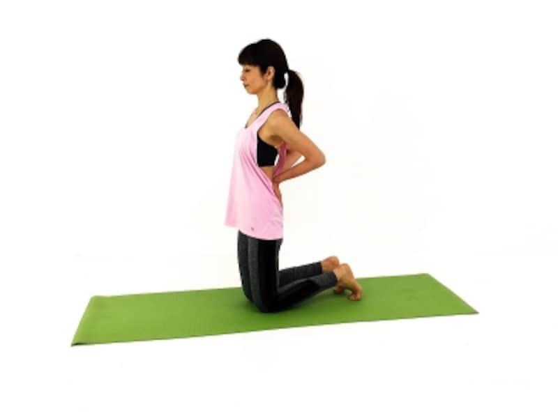 ウシュトラーサナ1undefined膝立ち姿勢になり両手で腰を前に押し出し、体幹を安定させます